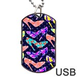 Colorful High Heels Pattern Dog Tag USB Flash (One Side) Front
