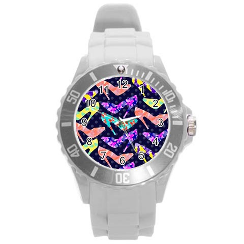 Colorful High Heels Pattern Round Plastic Sport Watch (L)