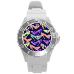 Colorful High Heels Pattern Round Plastic Sport Watch (L) Front