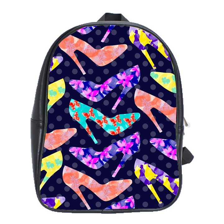 Colorful High Heels Pattern School Bags (XL)