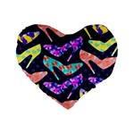 Colorful High Heels Pattern Standard 16  Premium Heart Shape Cushions Front