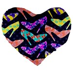 Colorful High Heels Pattern Large 19  Premium Heart Shape Cushions Front
