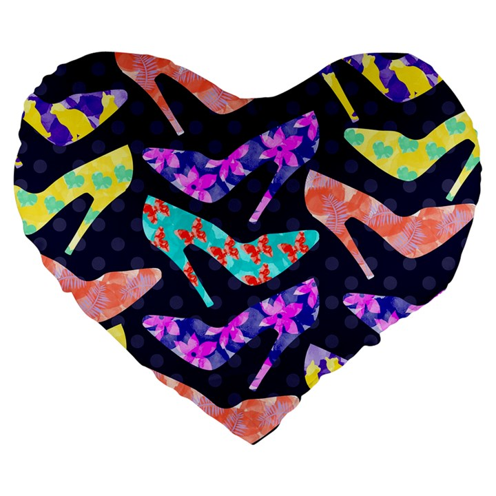 Colorful High Heels Pattern Large 19  Premium Heart Shape Cushions