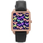 Colorful High Heels Pattern Rose Gold Leather Watch  Front