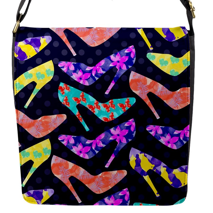 Colorful High Heels Pattern Flap Messenger Bag (S)