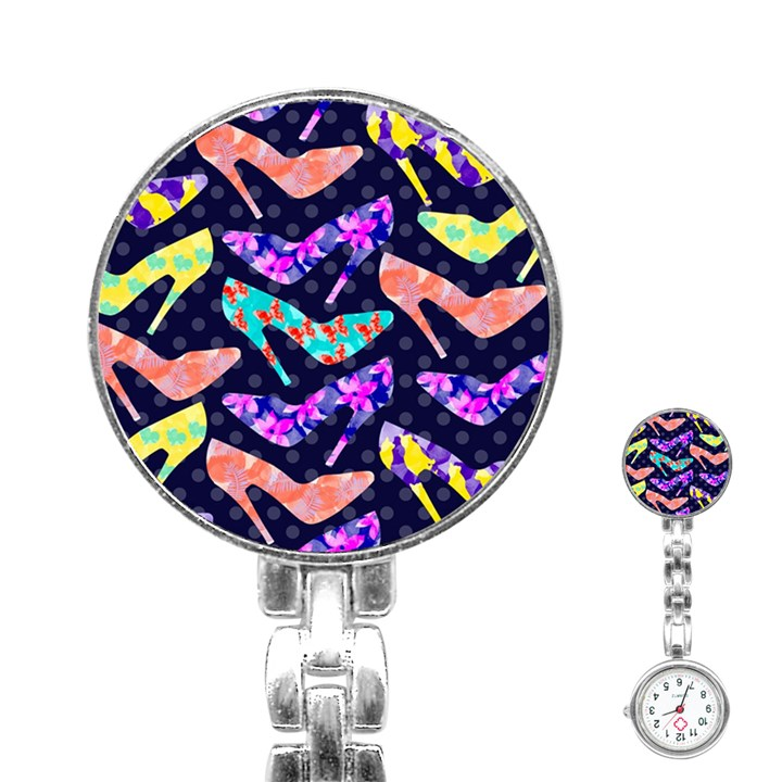 Colorful High Heels Pattern Stainless Steel Nurses Watch