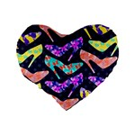 Colorful High Heels Pattern Standard 16  Premium Flano Heart Shape Cushions Back