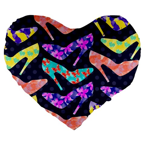 Colorful High Heels Pattern Large 19  Premium Flano Heart Shape Cushions