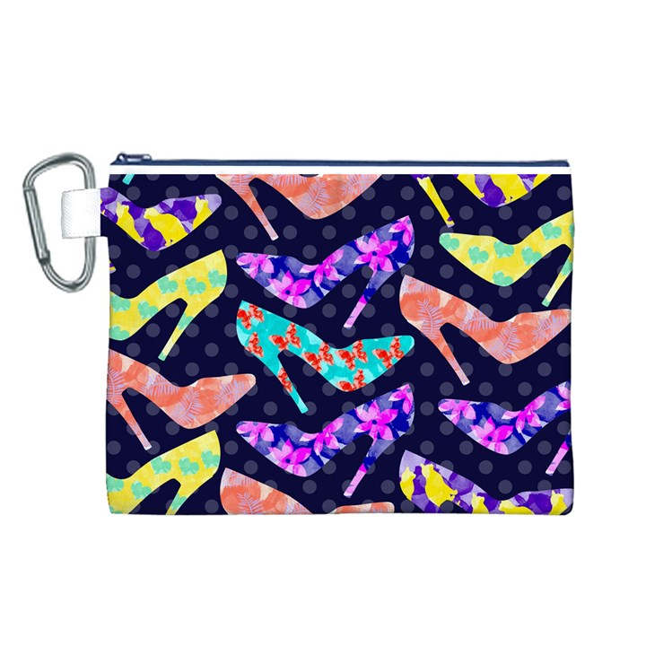 Colorful High Heels Pattern Canvas Cosmetic Bag (L)
