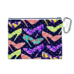 Colorful High Heels Pattern Canvas Cosmetic Bag (L) Back