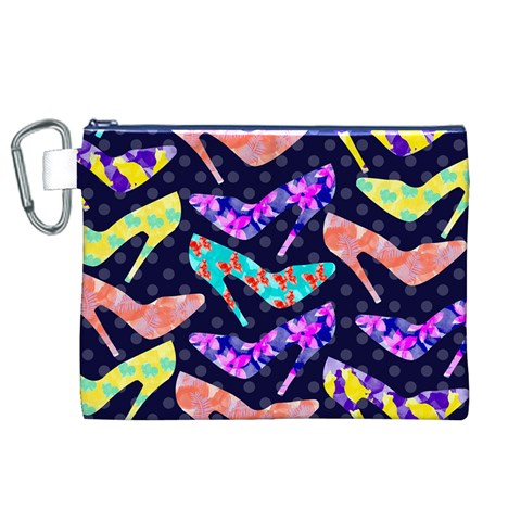 Colorful High Heels Pattern Canvas Cosmetic Bag (XL)