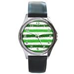 Metallic Green Glitter Stripes Round Metal Watch Front