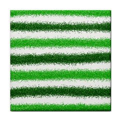 Metallic Green Glitter Stripes Tile Coasters