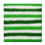 Metallic Green Glitter Stripes Tile Coasters Front