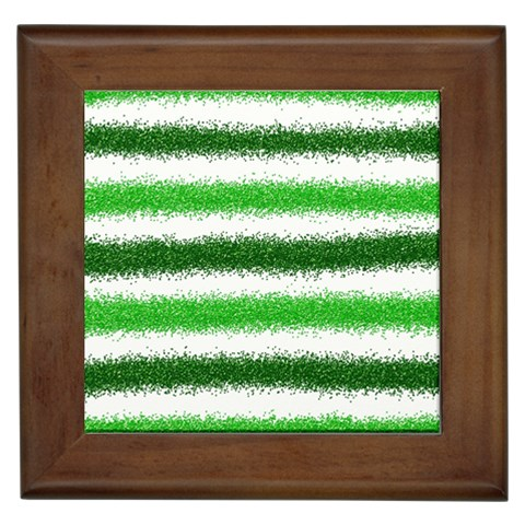 Metallic Green Glitter Stripes Framed Tiles