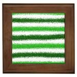 Metallic Green Glitter Stripes Framed Tiles Front