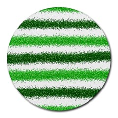 Metallic Green Glitter Stripes Round Mousepads