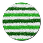 Metallic Green Glitter Stripes Round Mousepads Front