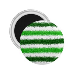 Metallic Green Glitter Stripes 2.25  Magnets