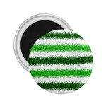 Metallic Green Glitter Stripes 2.25  Magnets Front
