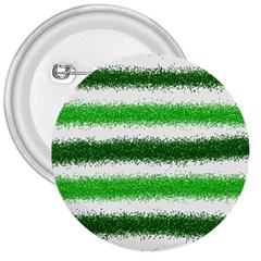 Metallic Green Glitter Stripes 3  Buttons