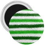 Metallic Green Glitter Stripes 3  Magnets Front