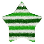 Metallic Green Glitter Stripes Ornament (Star)  Front