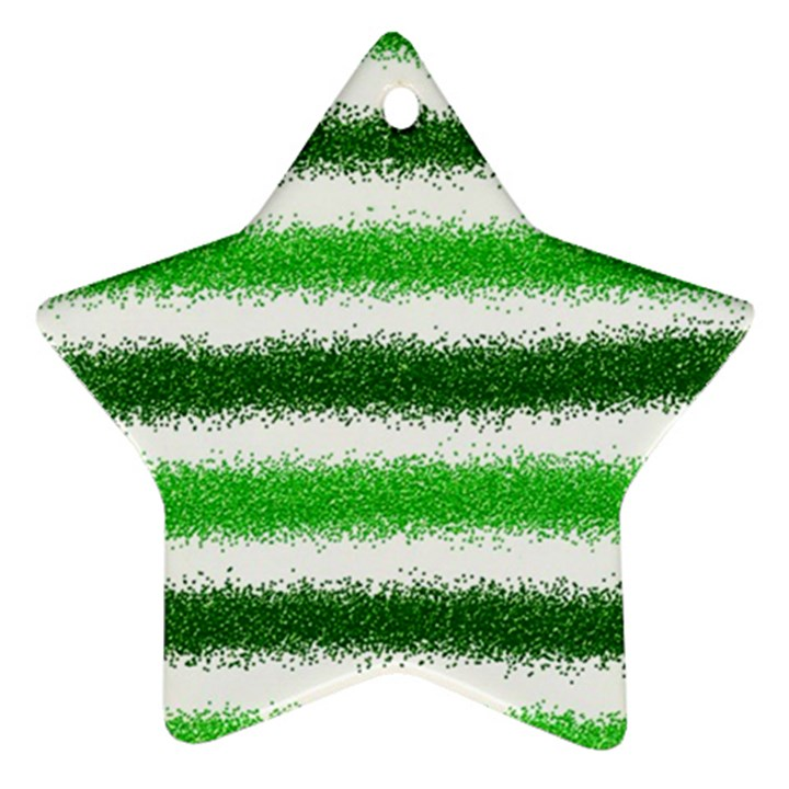 Metallic Green Glitter Stripes Ornament (Star)