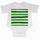 Metallic Green Glitter Stripes Infant Creepers Front