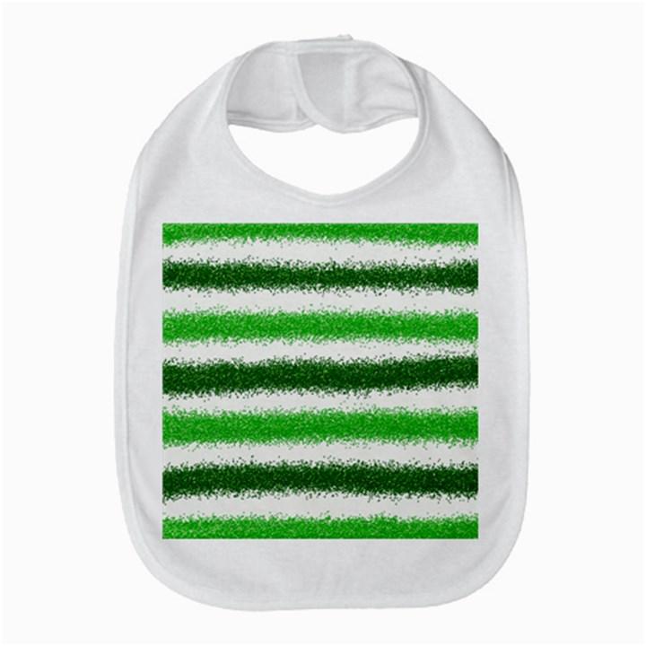 Metallic Green Glitter Stripes Bib