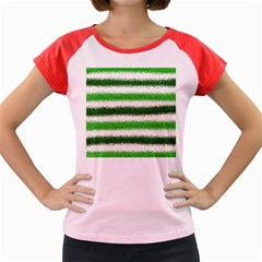Metallic Green Glitter Stripes Women s Cap Sleeve T-Shirt