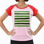 Metallic Green Glitter Stripes Women s Cap Sleeve T-Shirt Front