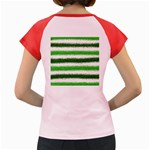 Metallic Green Glitter Stripes Women s Cap Sleeve T-Shirt Back