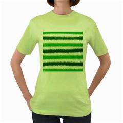 Metallic Green Glitter Stripes Women s Green T-Shirt