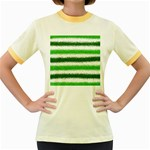 Metallic Green Glitter Stripes Women s Fitted Ringer T-Shirts Front