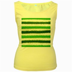 Metallic Green Glitter Stripes Women s Yellow Tank Top