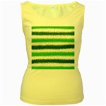 Metallic Green Glitter Stripes Women s Yellow Tank Top Front