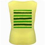 Metallic Green Glitter Stripes Women s Yellow Tank Top Back