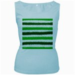 Metallic Green Glitter Stripes Women s Baby Blue Tank Top Front