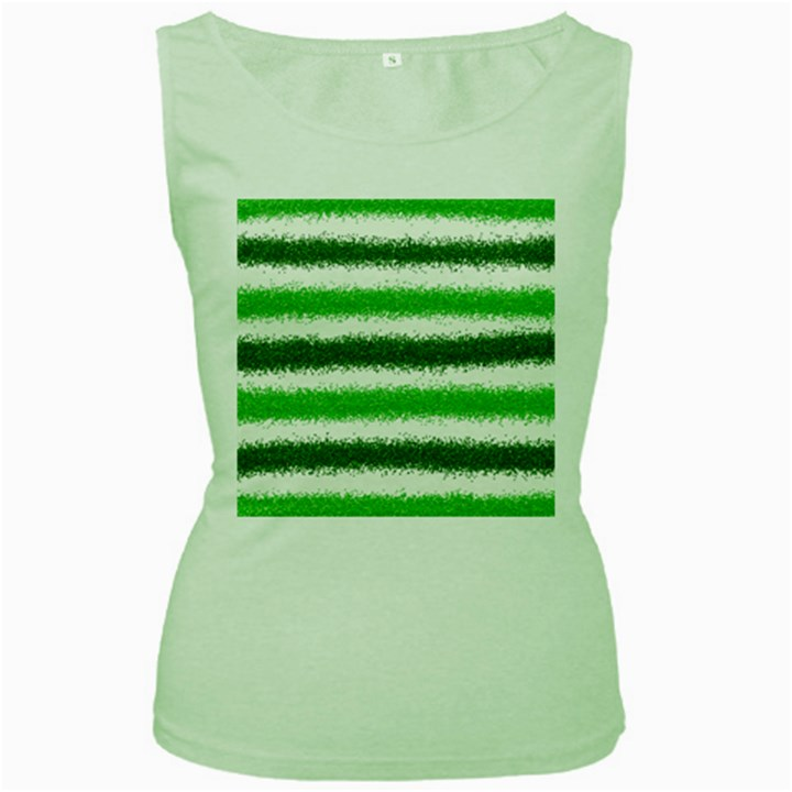 Metallic Green Glitter Stripes Women s Green Tank Top