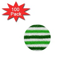 Metallic Green Glitter Stripes 1  Mini Buttons (100 pack)