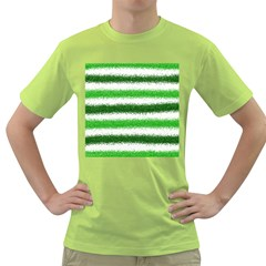 Metallic Green Glitter Stripes Green T-Shirt