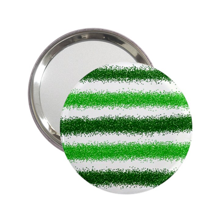 Metallic Green Glitter Stripes 2.25  Handbag Mirrors