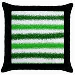 Metallic Green Glitter Stripes Throw Pillow Case (Black) Front