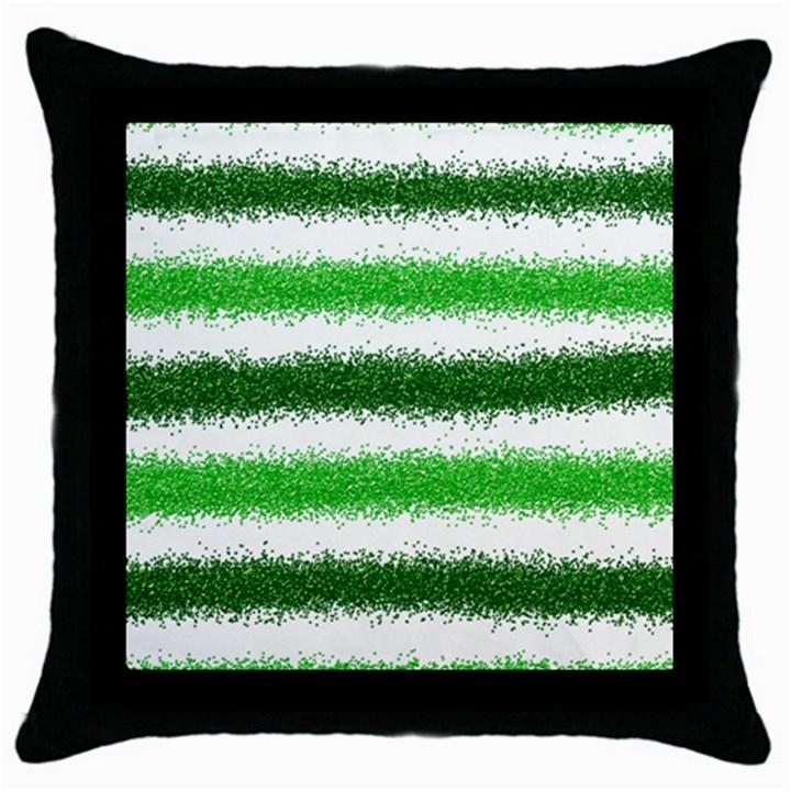 Metallic Green Glitter Stripes Throw Pillow Case (Black)