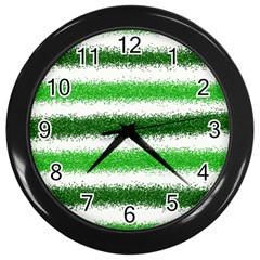 Metallic Green Glitter Stripes Wall Clocks (Black)