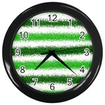 Metallic Green Glitter Stripes Wall Clocks (Black) Front