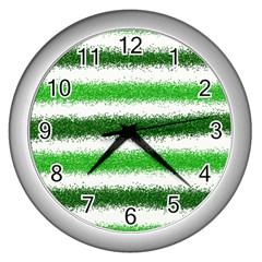 Metallic Green Glitter Stripes Wall Clocks (Silver)