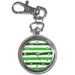 Metallic Green Glitter Stripes Key Chain Watches Front
