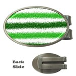 Metallic Green Glitter Stripes Money Clips (Oval)  Front